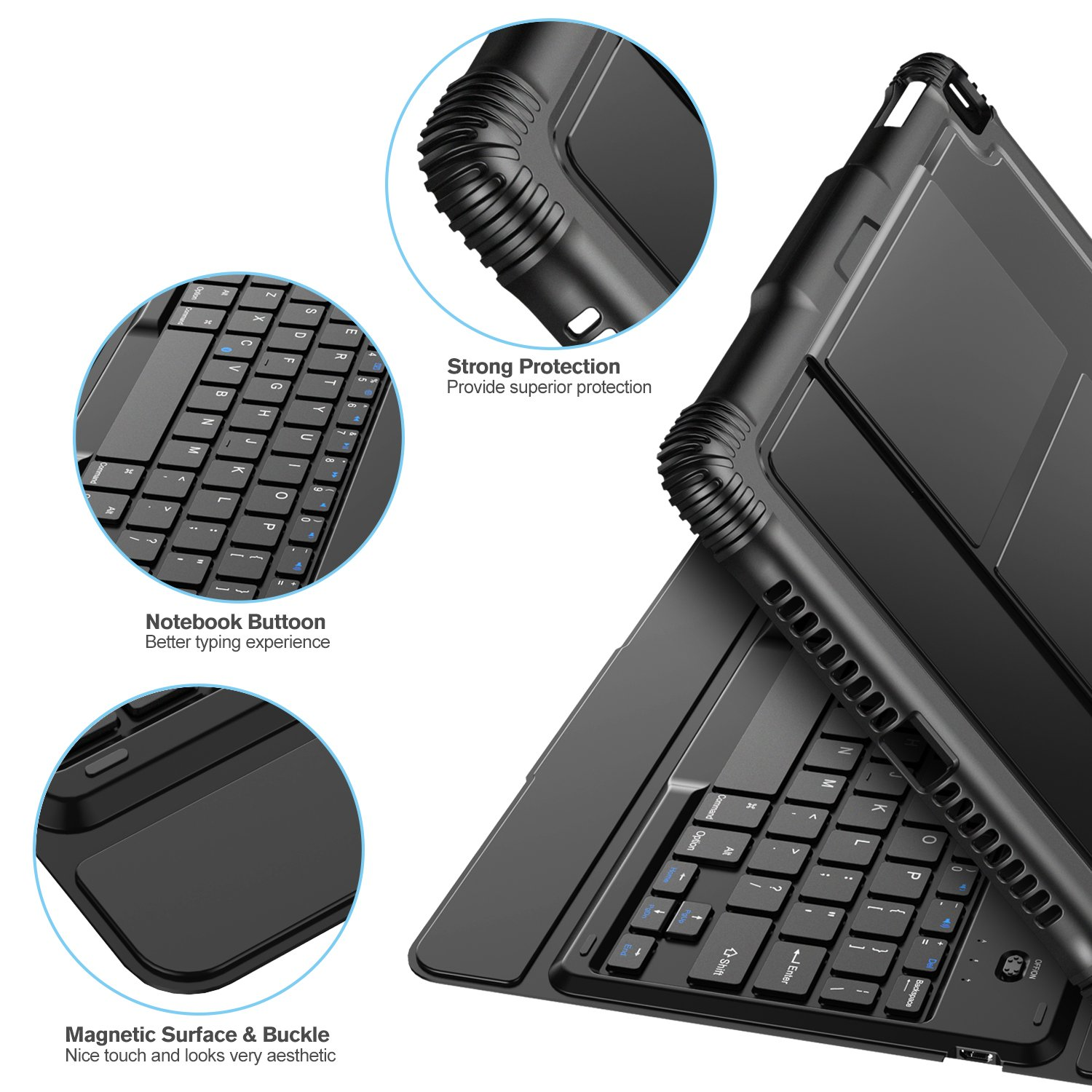 Nulaxy iPad Keyboard Case Compatible with iPad Air1/2, iPad Pro 9.7, iPad 9.7 2017/2018 - Detachable Bluetooth Keyboard/Built-in Magnetic Foldable Solid Stand with Auto Sleep/Wake - KM14 Black by Nulaxy (Image #6)