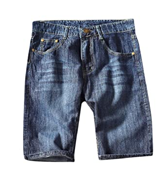 ef4d93b219b KaWaYi Men Flap Pockets Thin Plus-Size Washed Straight Mini Jean Denim  Shorts Dark Blue