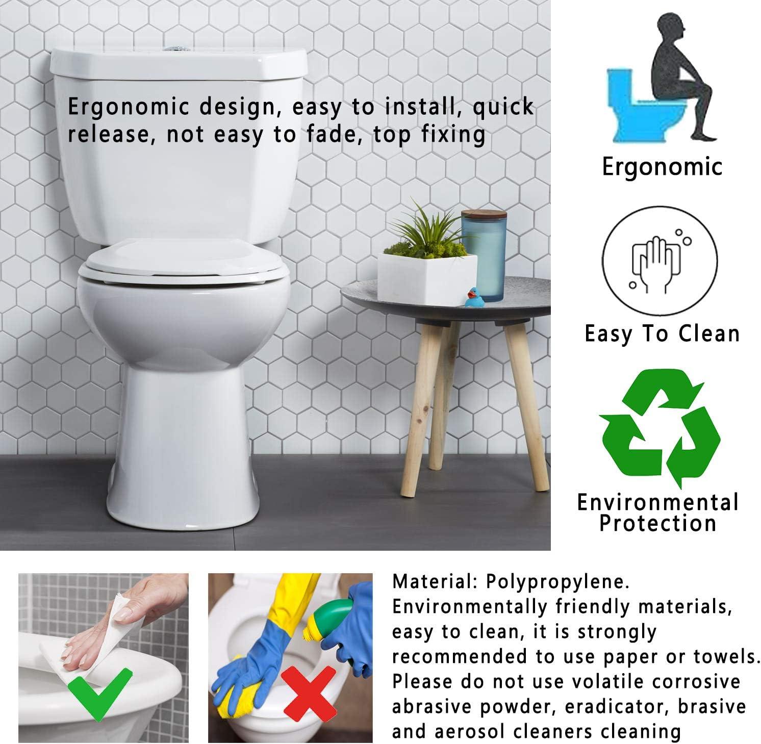 Sedile WC Antibatterico Soft Chiusura Rallentata Facile Sgancio Rapido Cerniera Regolabile Coperchio del Coperchio del WC a Forma di U Standard per WC Accessori per Bagno di Famiglia