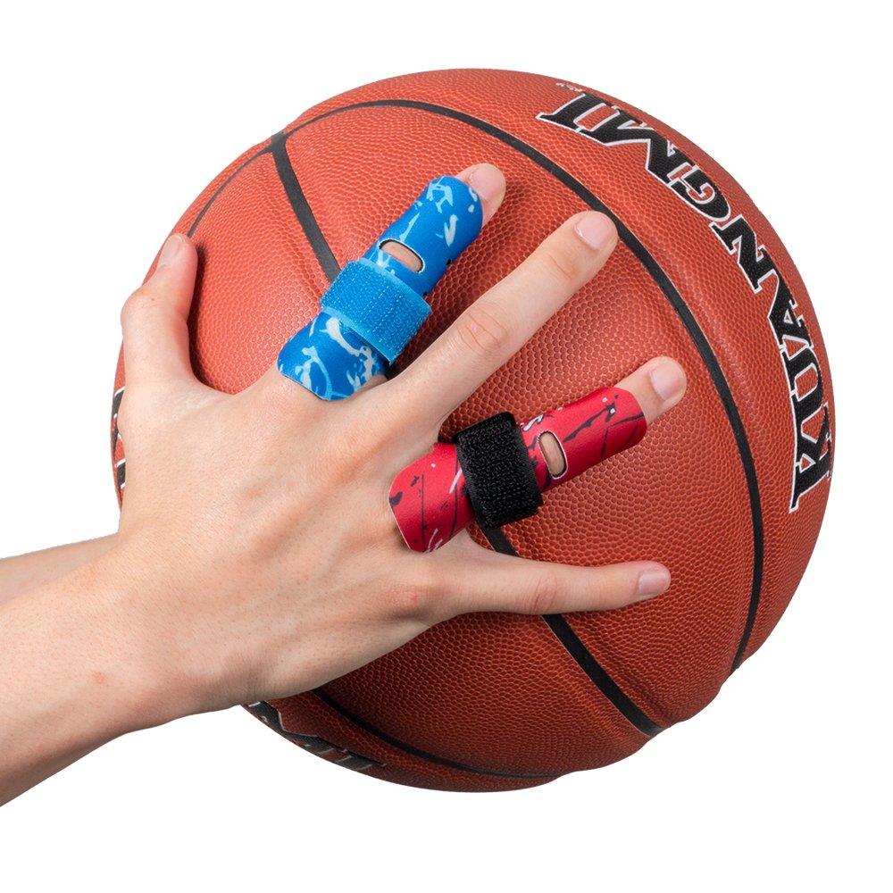 Kuangmi dedo manga soporte Protector dedo evita lesiones durante la practica deportiva 1 pieza,Red L/XL: Amazon.es: Salud y cuidado personal