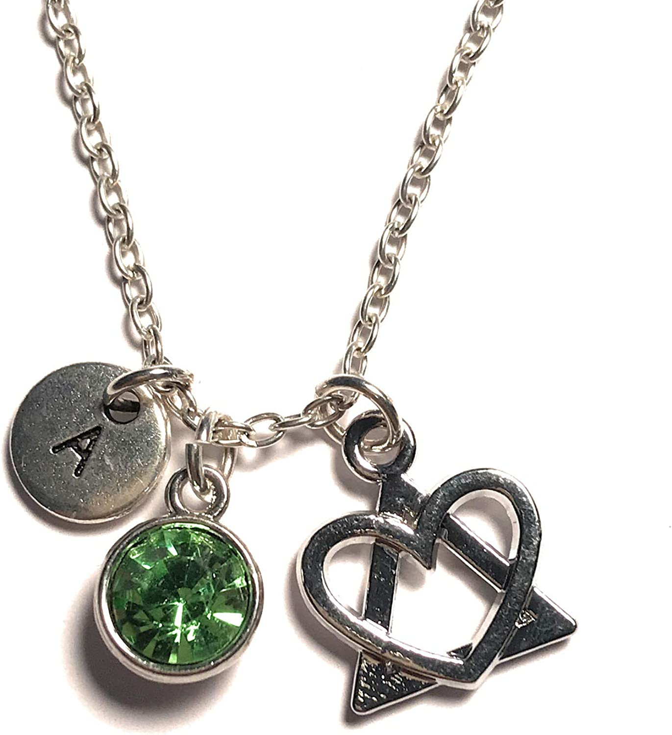 Adoption Necklace Initial Letter Birthstone Silver Charm Pendant Customized Jewelry Gift