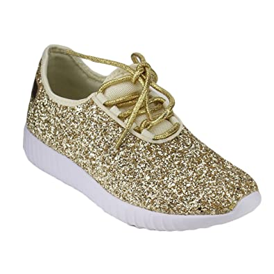 WomensFlat Heels Sneakers Athletic Rhinestones Fashion  Glitter Lace Up Shoes