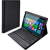 POWERADD Microsoft Surface 3 Keyboard Case Detachable Wireless Bluetooth Keyboard with Touch Pad with Magnetic PU Leather Stand Case Cover (NOT FOR Surface Pro 3,Surface 2,Surface RT) - Black