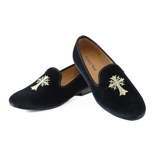 Journey West Mocassins Homme Broderie Noble Mocassins Velours Chaussure Vintage Chausson Fantaisie Chaussures Homme Loafers Homme Slippers Homme Pantoufle Croix Noir 41 XpJj3EVt