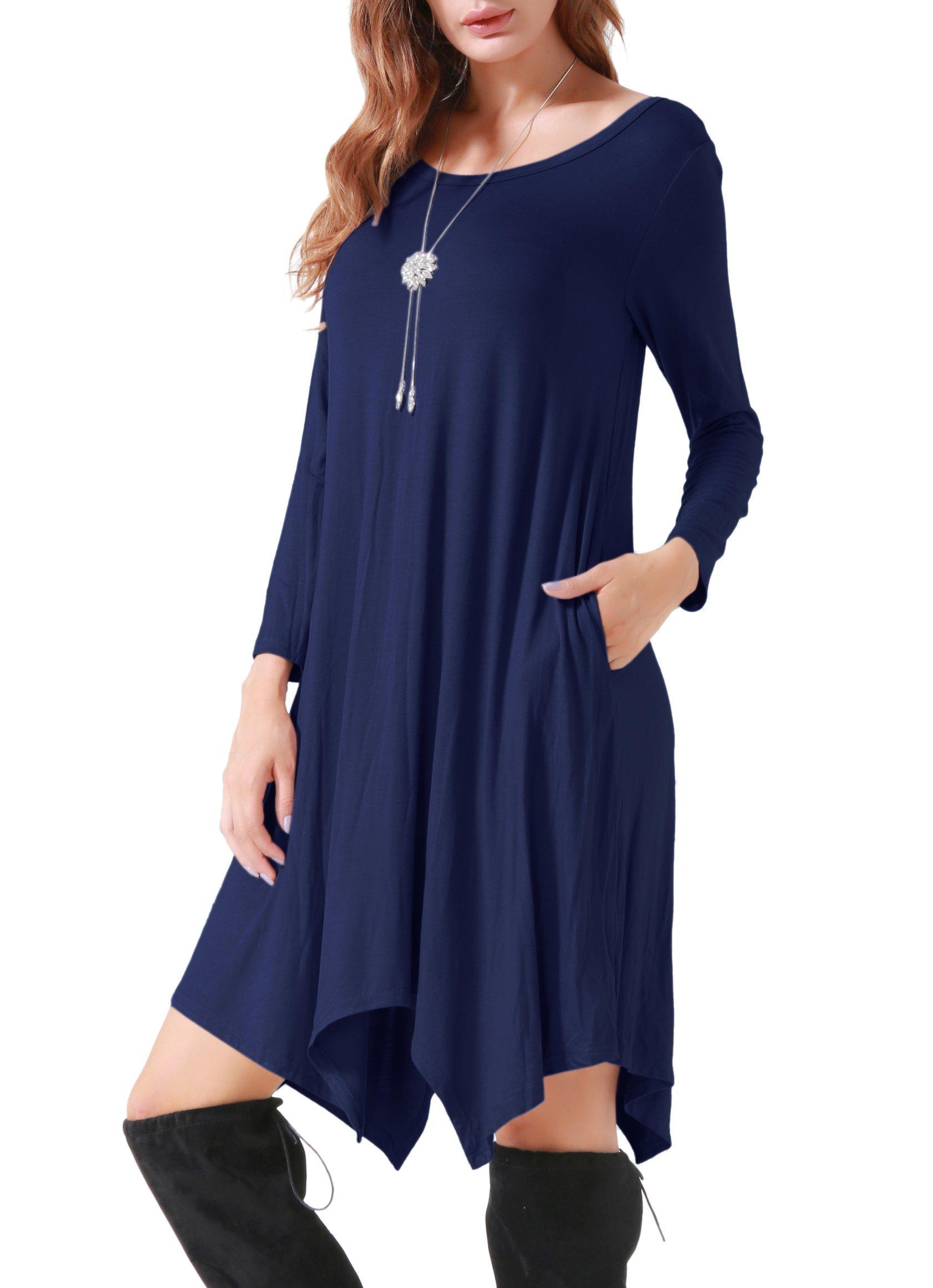 Invug Women Casual Loose Soft Crewneck Long Sleeve Pockets Swing T-shirt Dress Navy XL