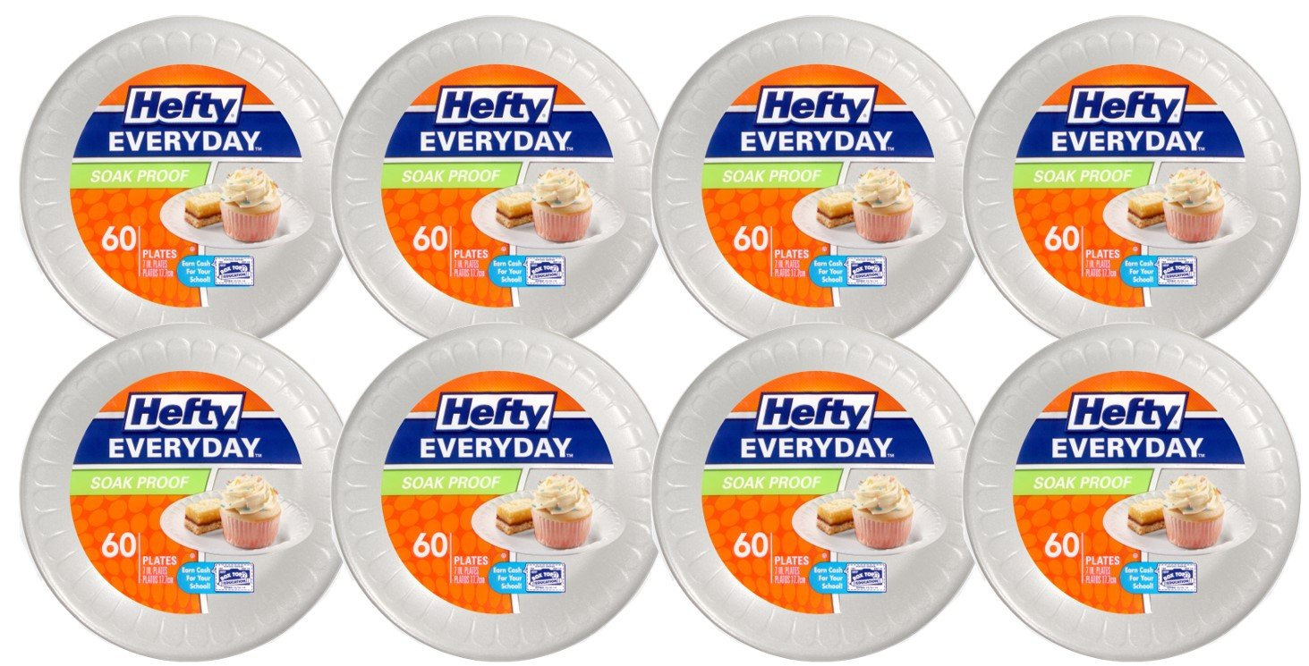 Hefty Everyday Foam Snack Plates (White, Soak Proof, 7-Inch, 60 Count, Pack of 8)