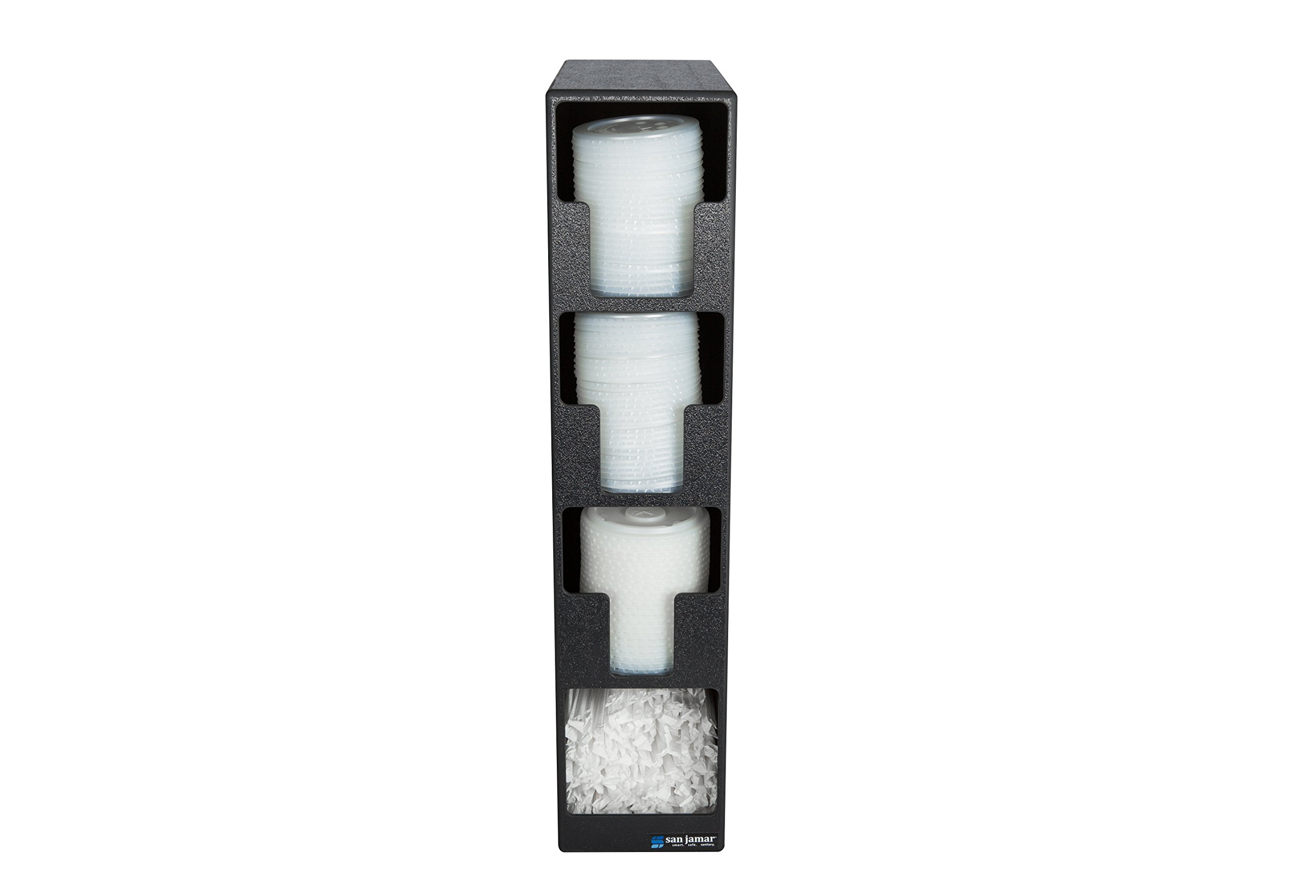 San Jamar L2203 Polystyrene Lid Dispenser with 3 Lid and 1 Straw Compartment, Black by San Jamar (Image #2)