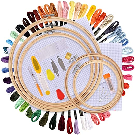 Full Range of Cross Stitch Kits Including Magic Embroidery Pen Set,Bamboo Embroidery Hoop and Other Tools for Beginners 100 color 100 Color KisSealed Embroidery Kit