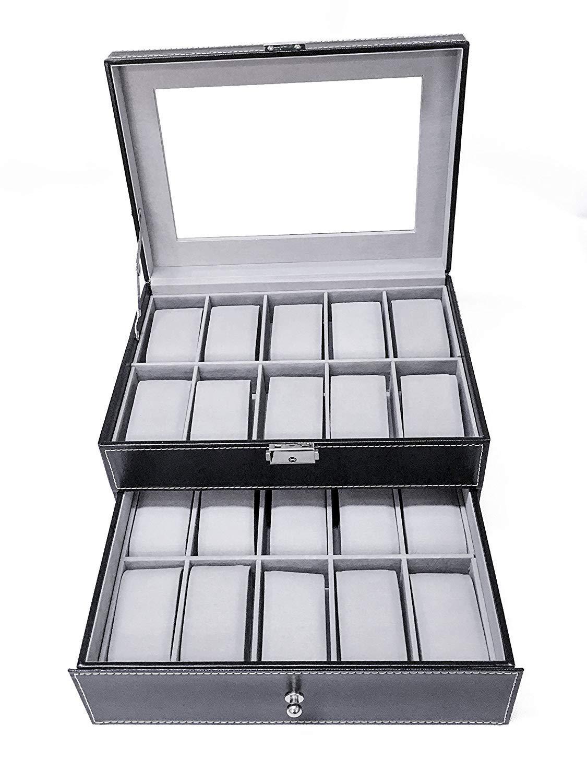 Sodynee Watch Box Watch Case Large 20 Mens Black Pu Leather Display Glass Top Jewelry Case Organizer