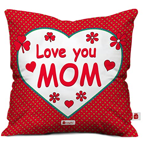 Indigifts Love You Mom Special Cushion Cover With Filler 12x12 Inch