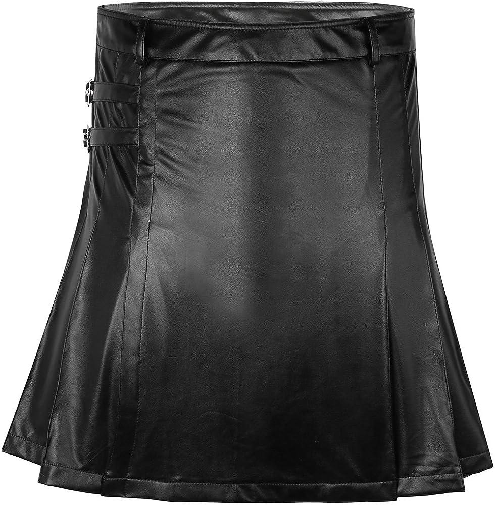 TiaoBug Falda de Cuero de Imitación Sexy para Hombres Falda ...