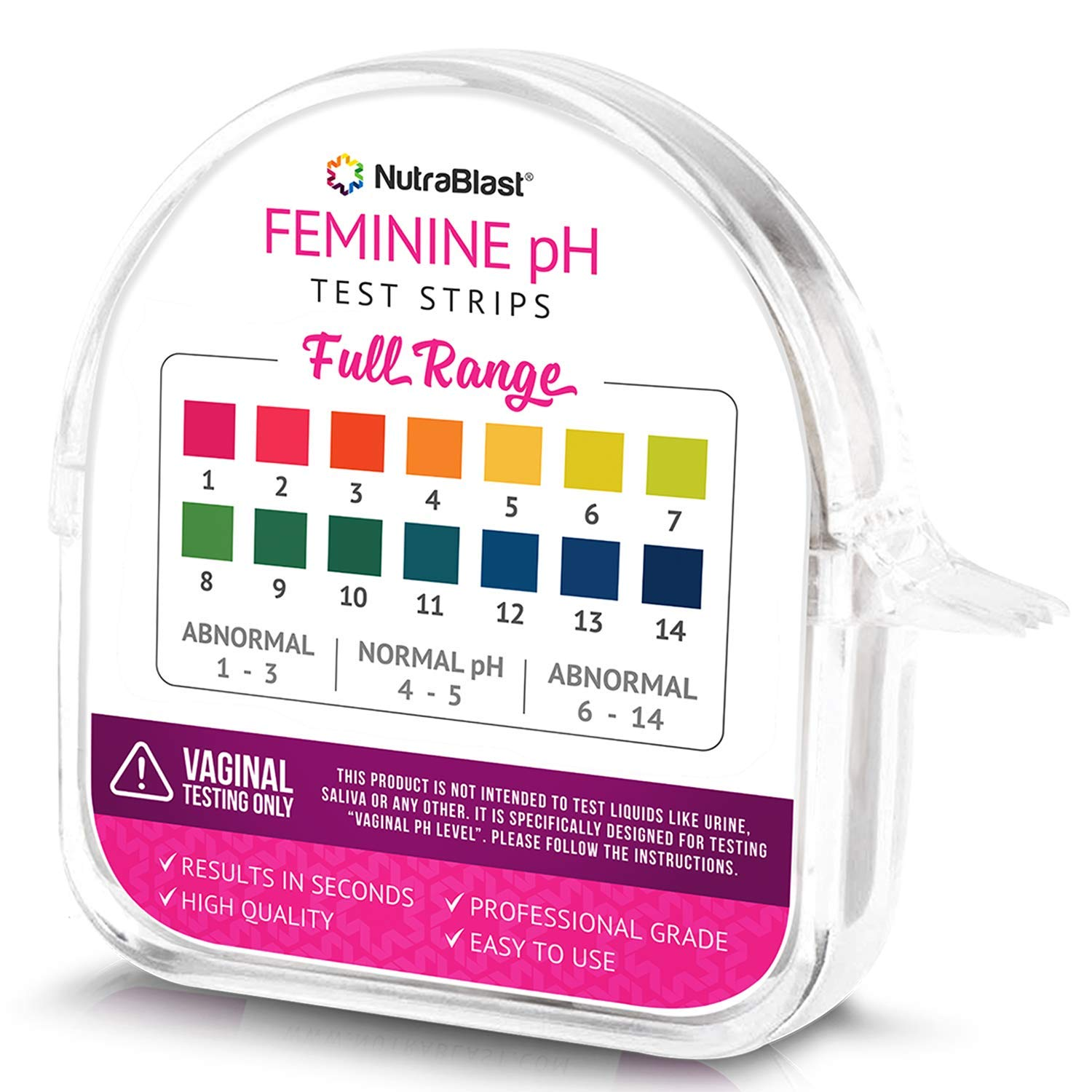 Nutrablast Feminine pH Test Strips Full Range 1-14 | Monitor Vaginal Intimate Health & Prevent Infections | Easy to Use & Accurate Women's Acidity & Alkalinity Balance Level Tester Kit