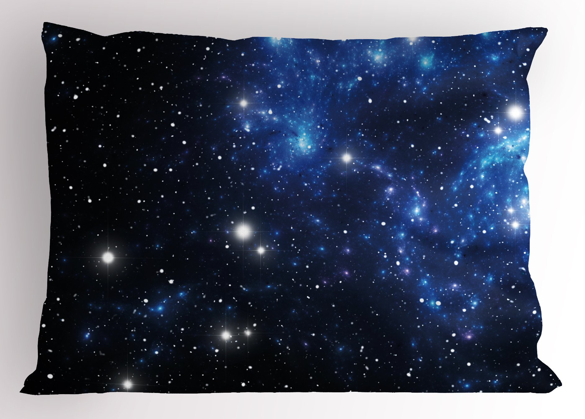Ambesonne Constellation Pillow Sham, Outer Space Star Nebula Astral Cluster Astronomy Theme Galaxy Mystery, Decorative Standard Size Printed Pillowcase, 26 X 20 inches, Blue Black White