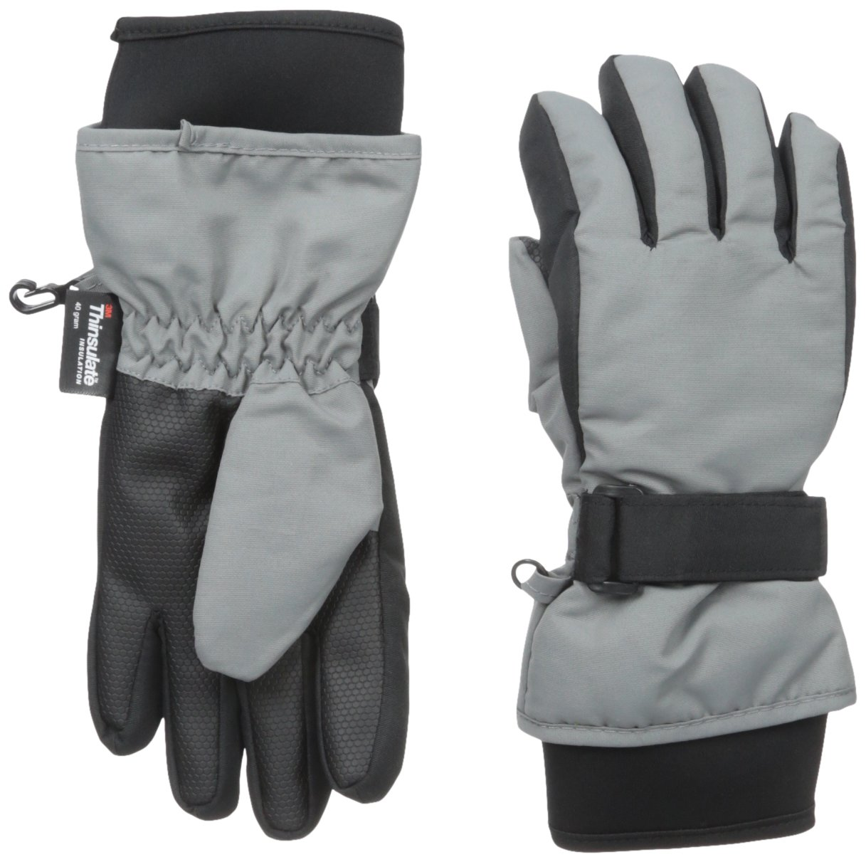 Nolan Gloves Big Boys' Sn'Owen Neoprene Cuff Ski Glove, Grey, Small/Medium
