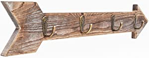 "CHICVITA Arrow Wall Decor Rustic Wall Mounted Coat Rack with 4 Hooks for Entryway, Hallway, Bedroom Hook Rack for Keys, Hats, Small Handbags, Pet Leashes - 16.5"" x 3.14"""