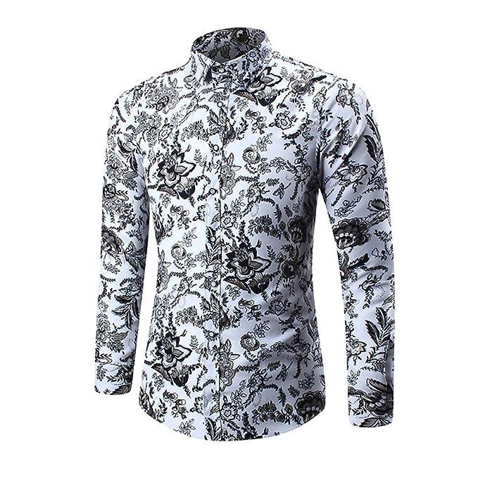 ddd6c7f665 Camisa Hawaiana de Manga Larga para Hombres Camisa de Vestir Tops Estampado  de Flores Estampado Abotonado Slim Fit Funky Fancy Casual Primavera Otoño   ...
