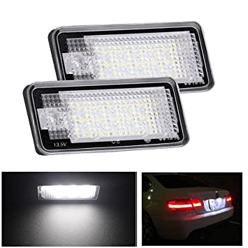 Lote de 2 lámparas LED de la matrícula, luz color blanco: Amazon.es: Coche y moto