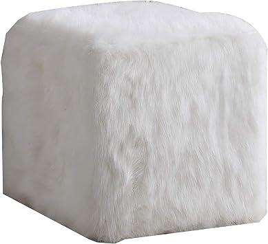 Amazon Com Benjara Faux Fur Upholstered Wooden Ottoman In Cube Shape White Furniture Decor