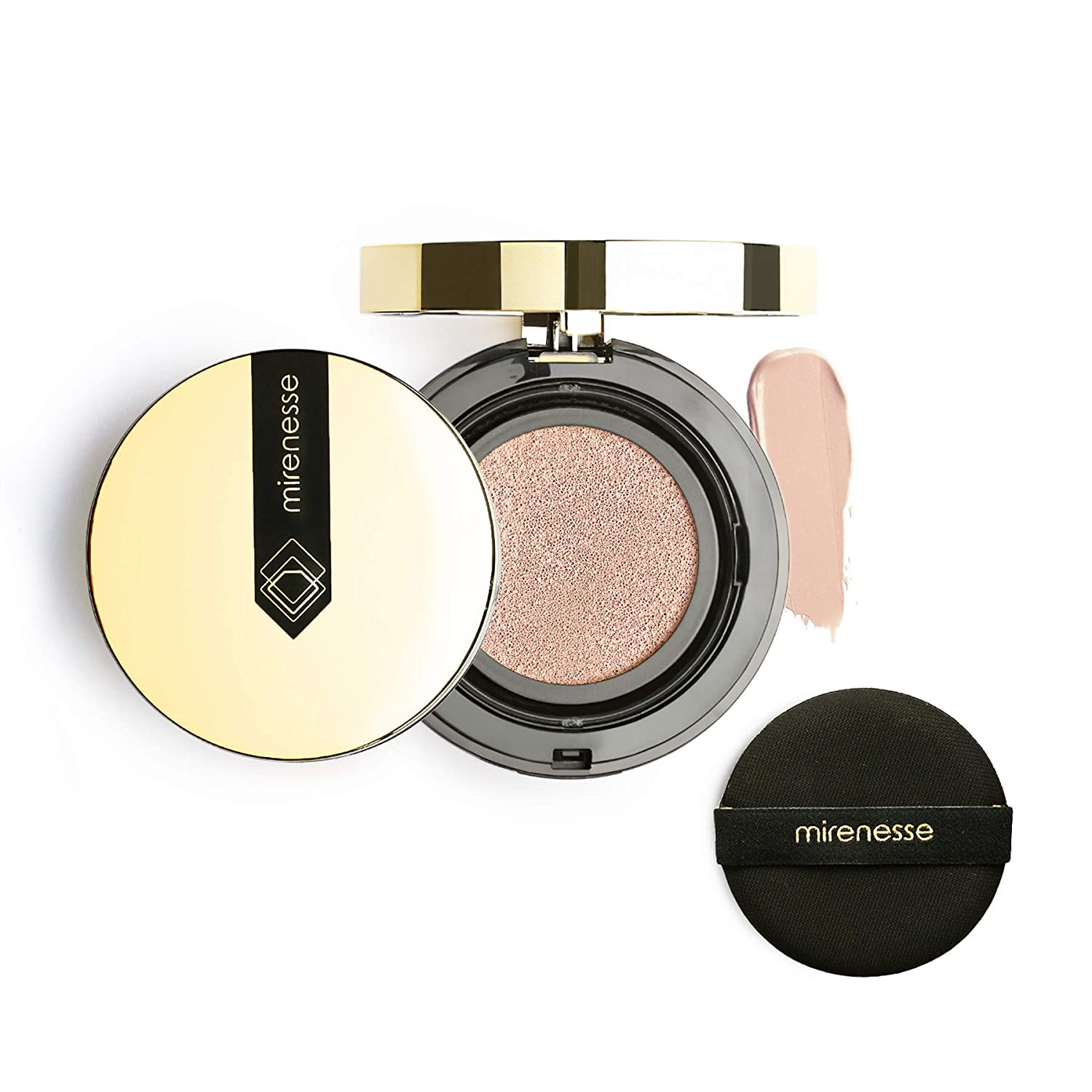 Mirenesse 10 Collagen Cushion Compact Airbrush Foundation Liquid Powder, Buildable Coverage, Instantly Flawless & Glowing Skin, Vegan & Toxin Free, Vienna 0.52oz