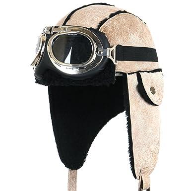 ililily Aviator Hat Winter Snowboard Fur Ear Flaps Trooper Trapper Pilot  Goggles, Beige