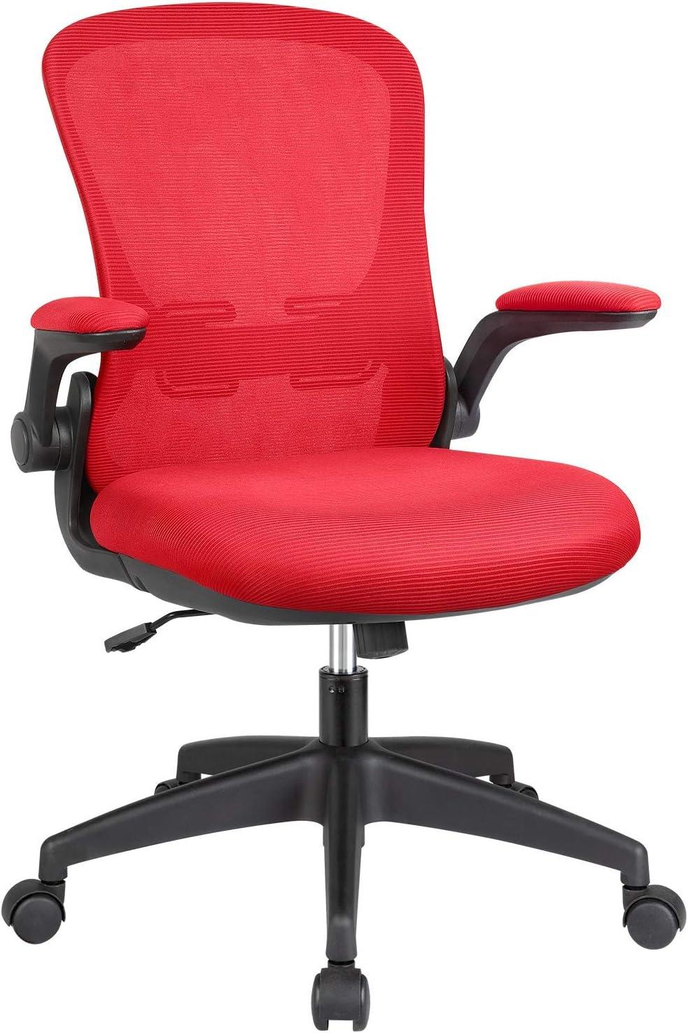 KaiMeng Office Computer Chair Ergonomic Desk Chair Mesh Task Chair Flip-up Arms Modern Executive Lumbar Support, Adjustable High Back Swivel Chair (Red)