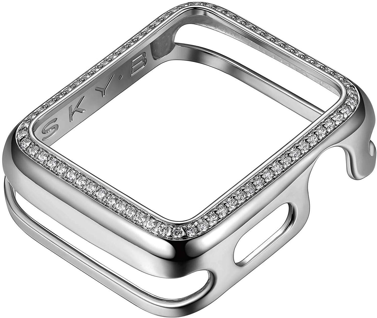 SKYB Designer Cubic Zirconia Apple Watch Cases .925 Sterling Silver & Rhodium Plated Jewelry-Style with Zirconia CZ Border - Small (Fits 38mm iWatch) by SKYB