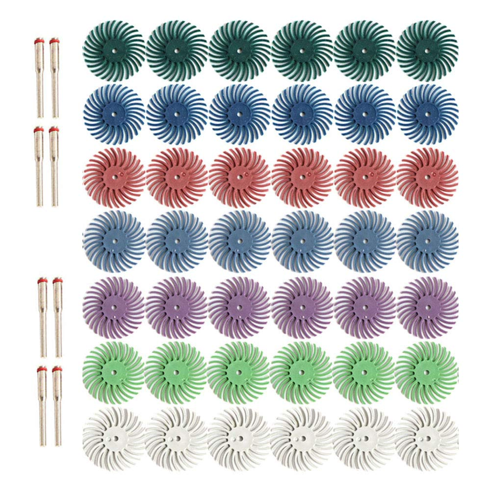 "50pcs 1 Inch Radial Bristle Disc Kit with 1/8"" 3mm Shank for Rotary Tools,Detail Abrasive Wheel for Jewelry Wood Metal Polishing, Bristle Wheel with Grit 80 120 220 400 600 1000 2500"