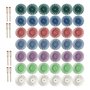 """50pcs 1 Inch Radial Bristle Disc Kit with 1/8"""" 3mm Shank for Rotary Tools,Detail Abrasive Wheel for Jewelry Wood Metal Polishing, Bristle Wheel with Grit 80 120 220 400 600 1000 2500"""