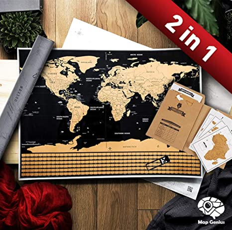 Scratch Off Map of The World - Premium 2 in 1 Deluxe Gift Set - Large USA  Outlined Scratch Off World Map Poster + Travelogue Travel Journal with ...