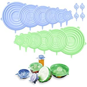 BIEZIAYA Silicone Stretch Lids, Reusable Durable Food Storage Covers Expandable Lids Silicone Covers for Bowls, Cups, Cans, Fit Different Sizes & Shapes of Container Dishwasher & Freezer Safe(16 Pcs)