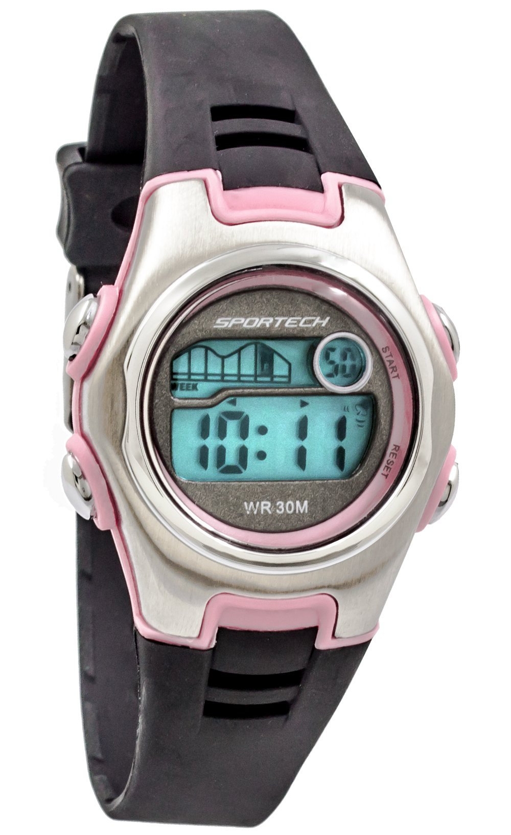 Sportech Unisex | Pink & Black Racer Digital Sport Watch | SP10201