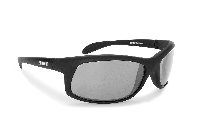Bertoni Photochromic Polarized Sunglasses Cycling Fishing Watersports Running Ski - P545FT Italy - Sporting Wraparound Windproof Glasses Bertoni Italy