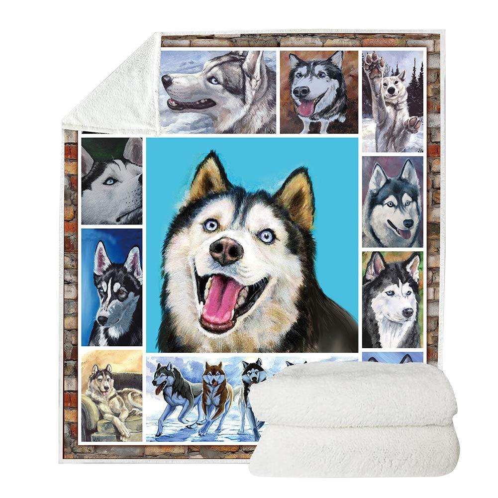 Peyan Dog Print Super Soft Throw Blanket Double-Sided Super Soft Sherpa Fleece Throw Blanket for Kids Adults All Season