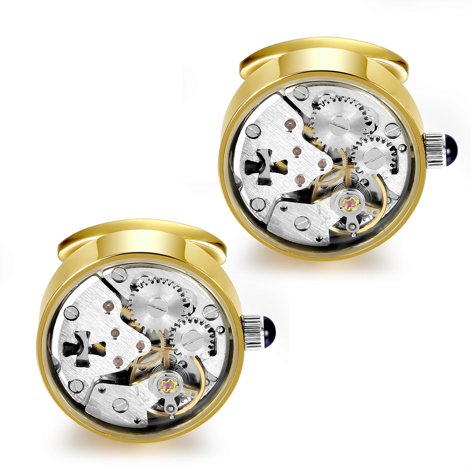 Dich Creat Unisex Stainless Steel Gold PVD Hollow Out Cross Wind-up Working Movement Cufflinks Covered With Glass