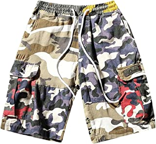 FLCH+YIGE Mens Camo Cargo Shorts Multi Pocket Baggy Fit Loose Cotton Shorts