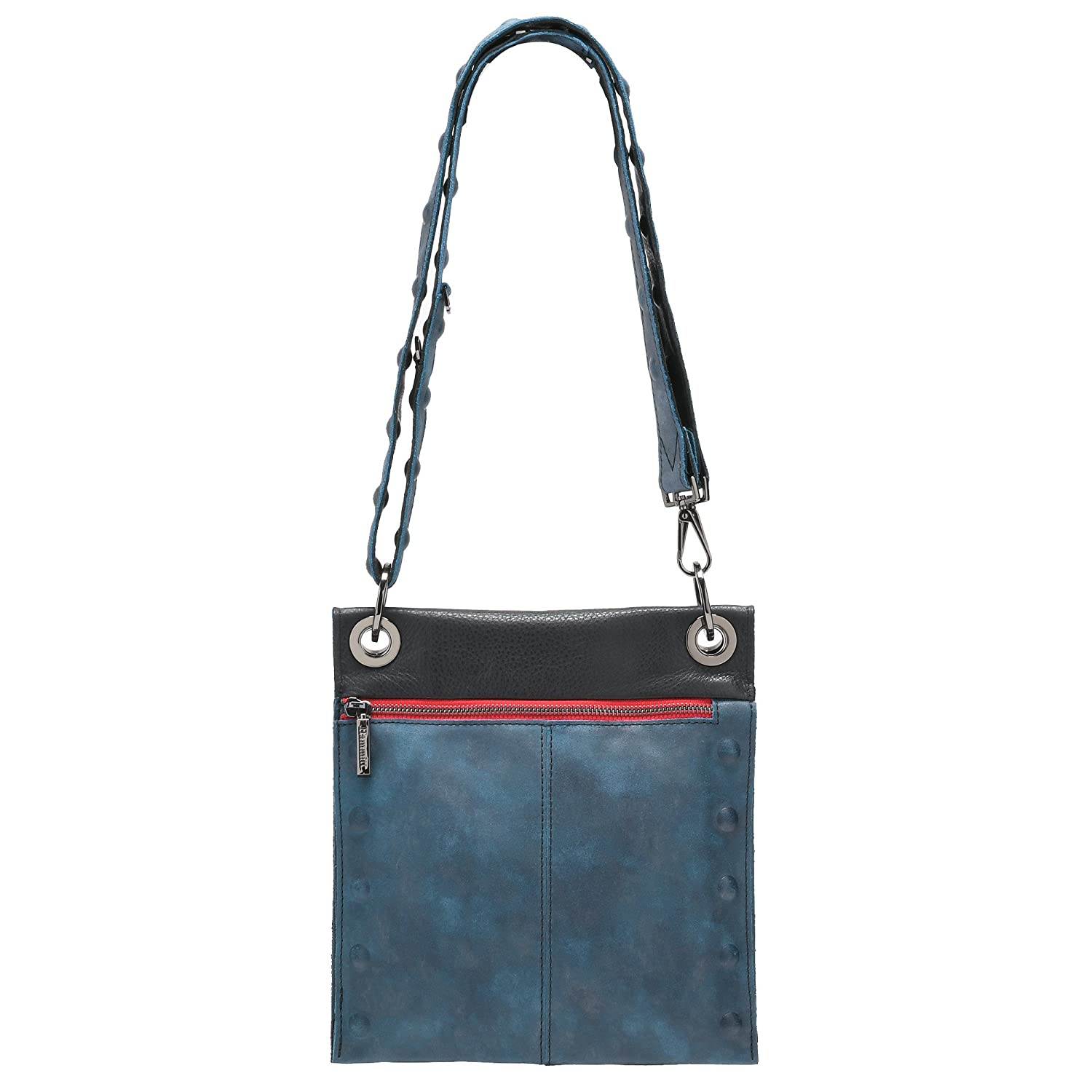 37ead6b247 Amazon.com  Hammitt Women s Little Santa Monica Reversible Crossbody Bag  Awa Buffed Black Grey with Brushed Silver-Silver Red Zip Accents Embossed  Red ...