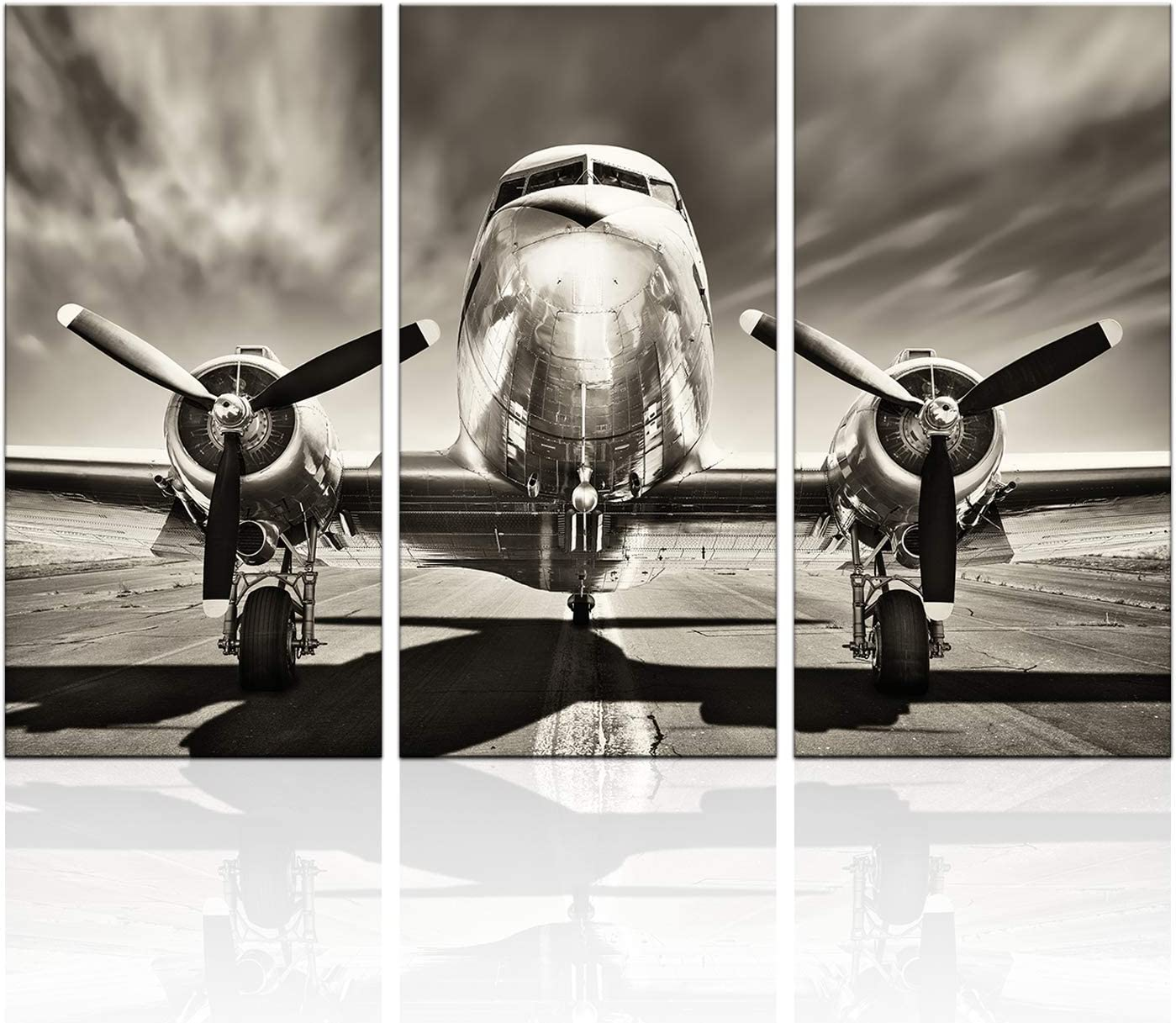 KLVOS 3 Piece Airplane Wall Art Vintage Black and white Propeller Aircraft Picture for Boy Room Home Office Modern Home Decor Stretched and Framed Ready to Hang - 16