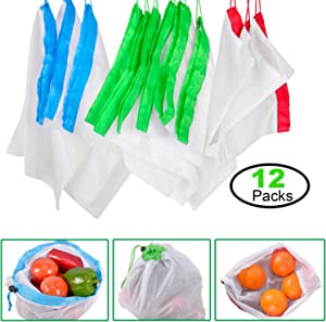 Reusable Mesh Produce Bags, Washable Premium Through Lightweight Mesh Bags, Eco Friendly Toy Fruit Vegetable Produce Bags with Drawstrings - 3 Sizes, 12PCS