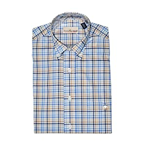 Cotton Brothers Button Down Sport Shirt in Khaki/Blue