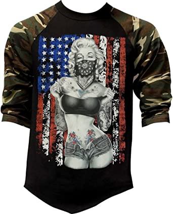 Mens American Marilyn Standing Bandana Flag Black//Camo Raglan Baseball Sweatshirt Black