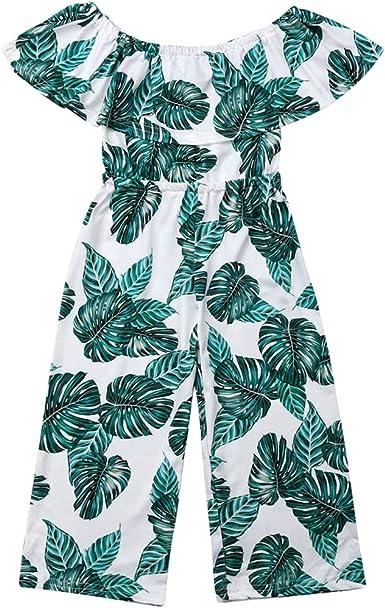 Baby Girl Sleeveless Floral Boho Romper Pants Off Shoulder Jumpsuit Clothes