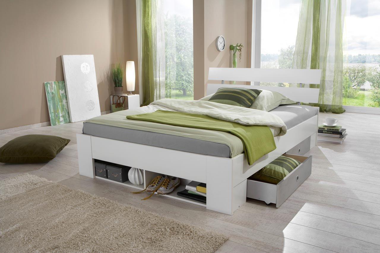 lifestyle4living Futonbett 140x200 cm in weiß/grau mit Stauraum | Entspannt schlafen in diesem Funktionsbett mit Schubladen