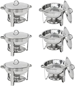 ZENY Pack of 6 Round Chafing Dish Full Size 5 Quart Stainless Steel Deep Pans Chafer Dish Set Buffet Catering Party Events Warmer Serving Set Utensils w/Fuel Holder