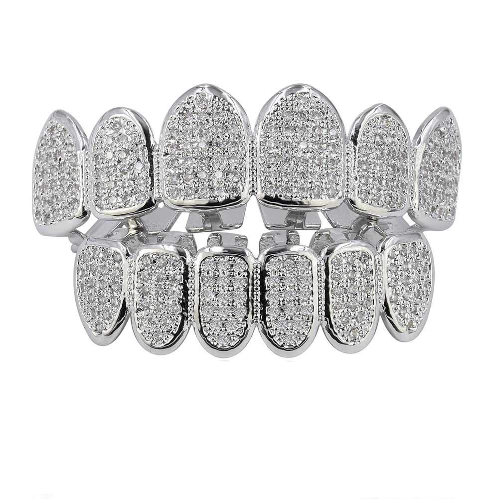 JAJAFOOK 18k Gold Plated All Iced Out Luxury Rhinestone Gold Grillz Set with Extra Molding Bars by JAJAFOOK