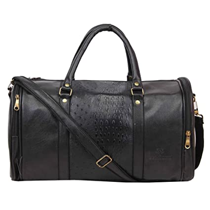Belmond Black 39.4 Liters Genuine Pu Leather Black Duffle Bag  Amazon.in   Bags ecbc39769a5c8