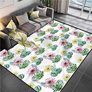 Area Rug Print Large Rug Mat Cactus,Mexican Plant Cactus Office Chair mat for Carpet for Living Dining Dorm Playing Room Bedroom 5'x7'