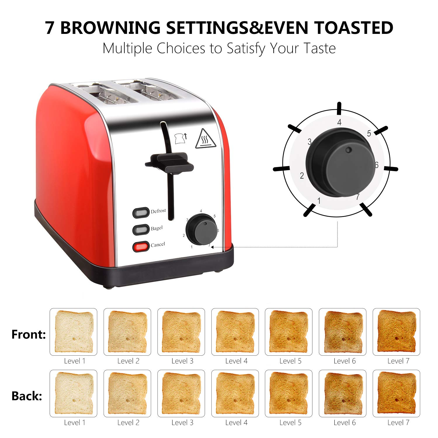Toaster 2 Slice Toasters Best Rated Prime Extra Wide Slots Compact Stainless Steel with Defrost Reheat Cancel Button High Lift Lever Toaster's Removable Crumb Tray Quickly Toast for Bread&Bagel by Evening (Image #3)
