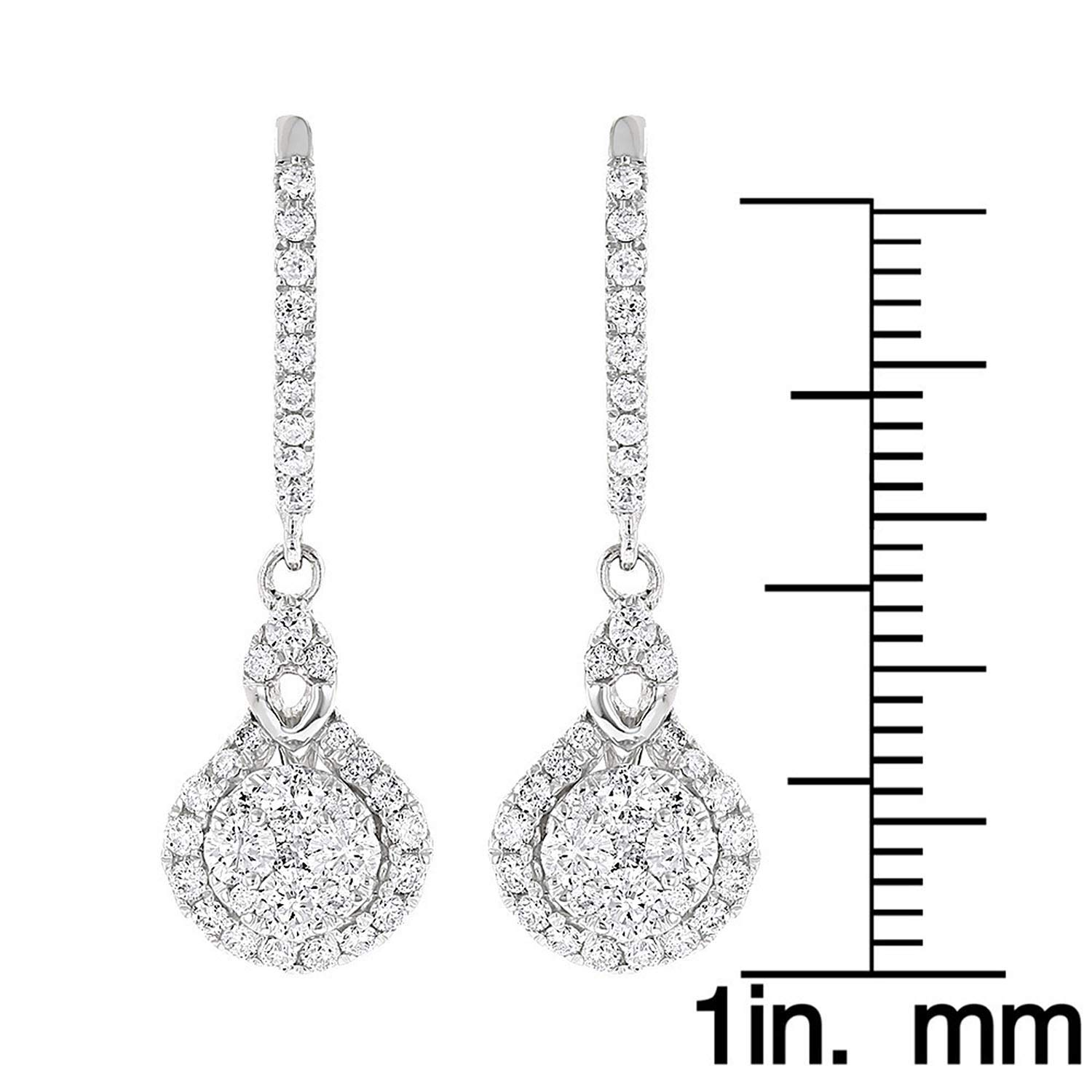 1.10 Ct Round Cut Simulated Diamond Drop Shape Clusters Earrings 925 Sterling Silver