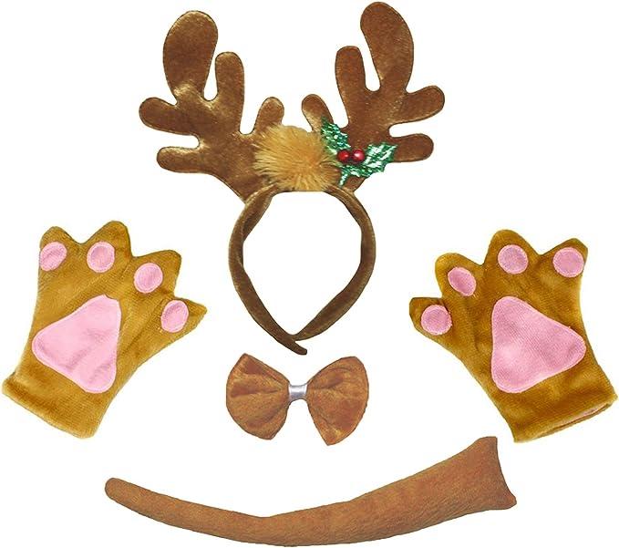Petitebelle Guantes de cola de Navidad del reno diadema Bowtie ...