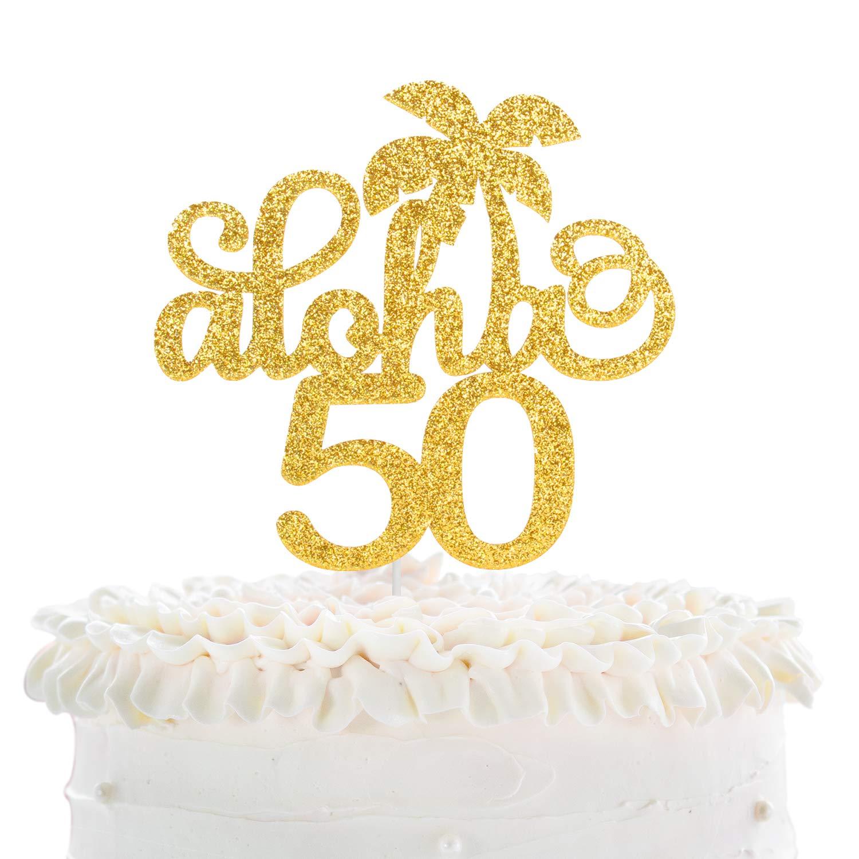 1 pc hello 50 fifty birthday gold silver black glitter cake topper